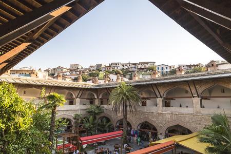 ottoman empire: Kervansaray or Caravanserail Hotel, an old Ottoman Empire built stone structure in Kusadasi, a touristic town in Aegean coast of Turkey.