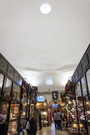 Old Grand Bazaar, covered shopping complex built in Ottoman Empire period in Bursa, Turkey's 4th largest city.