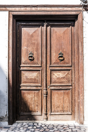 Old wooden door architectural detail Stock Photo