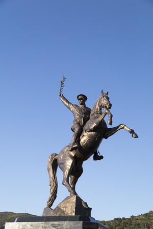 ottoman empire: Bronze memorial statue of Mustafa Kemal Ataturk, the founder of modern Turkish Republic , successor of the Ottoman Empire in Bodrum, Turkey