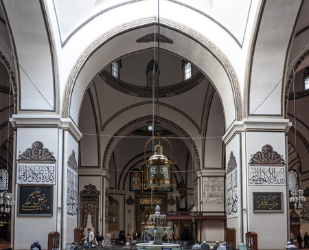 muhammed: Bursa, Turkey - May 6, 2015: Interior view of Ulucami or the Great Mosque in Bursa with people praying and islamic style antique decoration on May 6, 2015 Editorial