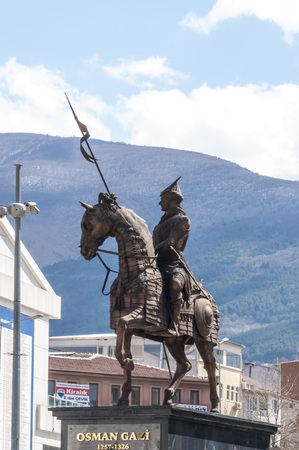 Statue of Osmangazi, the founder of the Ottoman Empire in Bursa, Turkey