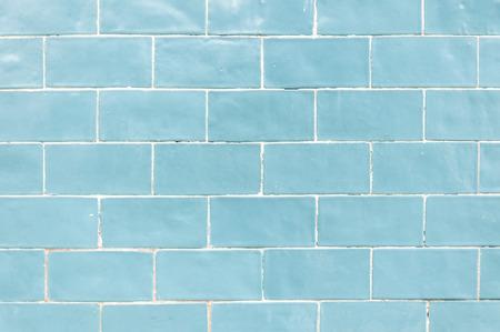 青い色のレンガの壁のテクスチャ背景 写真素材