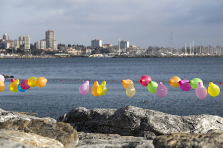 Colorful balloons to shoot along the coastline