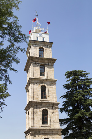 marmara: Historical clock tower in Tophane district of Bursa city, Marmara, Turkey Editorial