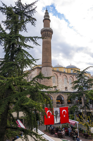 seljuk: Bursa, Turkey - April 7 ,2015: View of Ulucami or the Grand Mosque built in the Seljuk style, in the Ottoman Sultan Bayezid I period between 1396 and 1399.