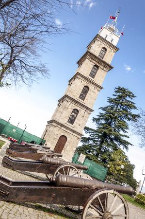 Historical clock tower in Tophane, Bursa, Turkey