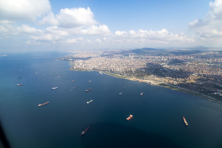 overcast: Aerial view of Istanbul, Turkey
