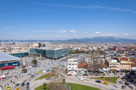 generic location: View from Kent Meydani, the shopping center in central district of Bursa, Marmara, Turkey.