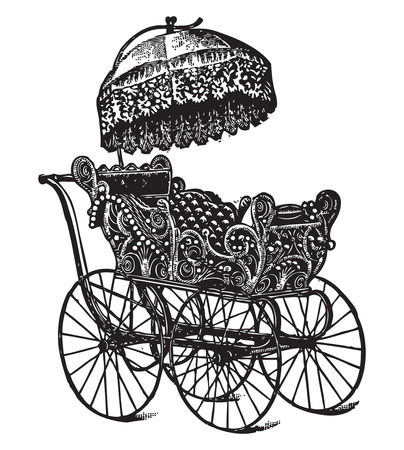 antiquity: Engraving of a vintage baby stroller with parasol and ornaments