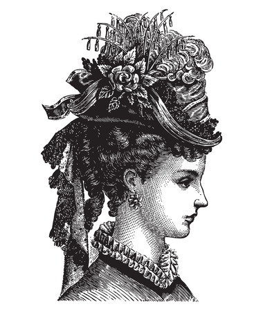 Engraving of a lady portrait fashioned in vintage feather hat