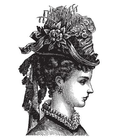 여성 초상화의 조각 빈티지 깃털 모자 유행