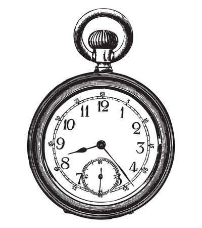 etchings: Engraving of an old pocket watch Illustration