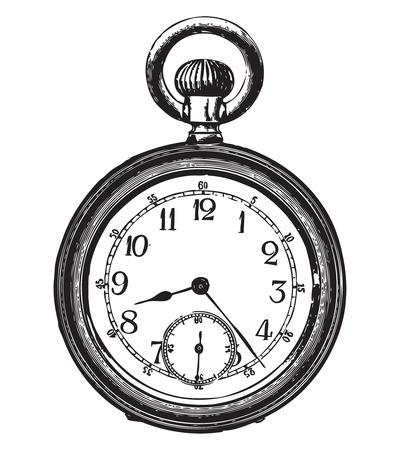 Grabado de un antiguo reloj de bolsillo