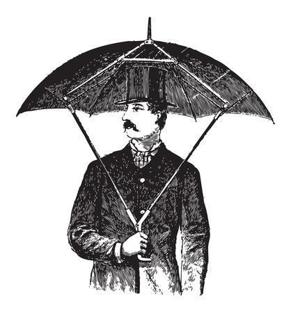 engraving: Engraved illustration of a gentleman holding a strange umbrella invention model