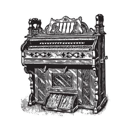 drover: Ancient engraving of a piano or harpsichord