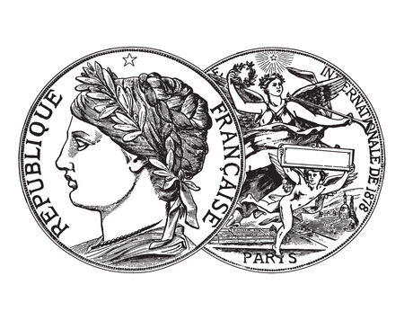 Engraving of vintage coins with two side view