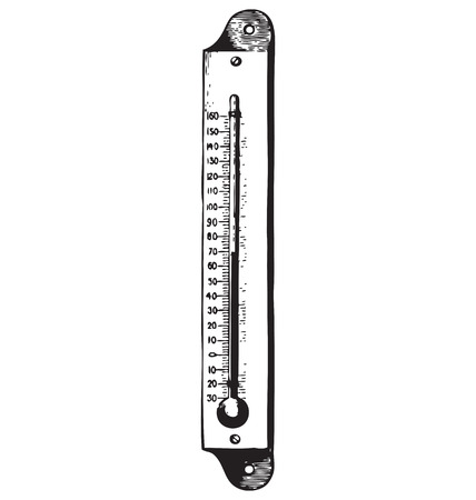 antiquity: Medical thermometer vector engraving isolated on white Illustration