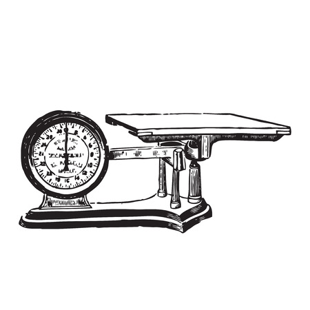 weighing scale: Vector engraved illustration of a weighing scale isolated on white