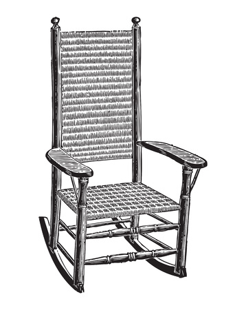 Engraving of an old rush mat woven rocking chair Stock Illustratie