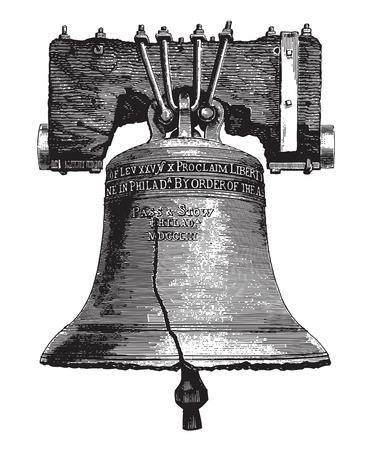 metal drawing: Engraving of a vintage large bell or campane with cracks