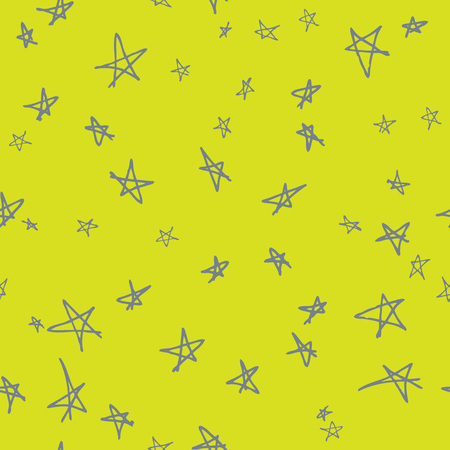 Vector seamless pattern design with hand drawn sketchy stars