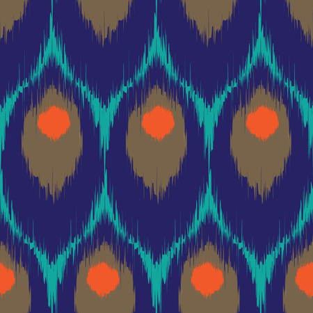 indigo: Vector ikat seamless pattern, repeating background design for all web and print purposes