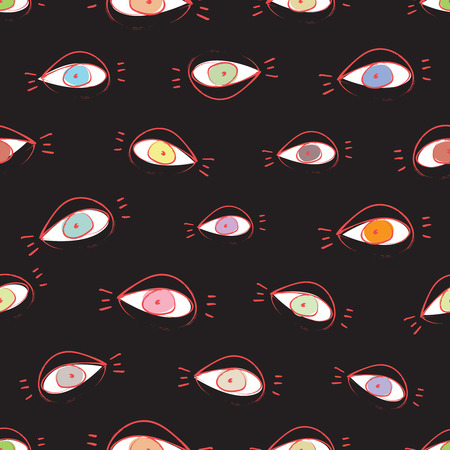 lash: Vector seamless pattern design with hand drawn sketchy open eyes Illustration