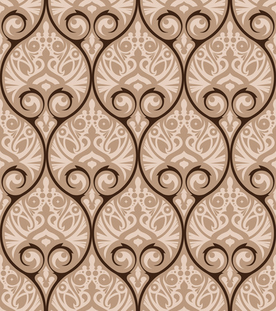 luxury paper: Vector seamless pattern design with ornamental geometric grid in an elegant color palette, abstract classical repeating background for all web and print use