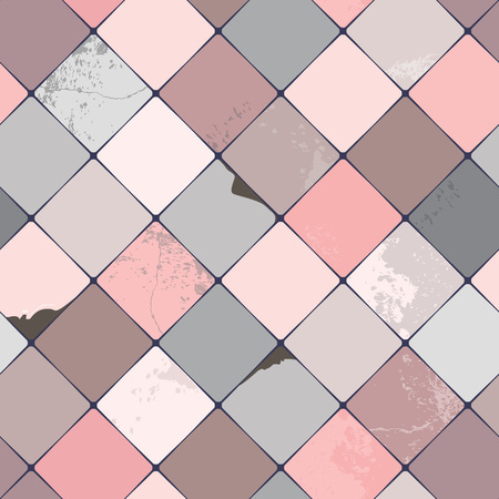 diamond shaped: Seamless vector pattern with shabby chic, realistic, diamond shaped coloured ceramic tiles with damages and grunge details, perfect for all web and print use