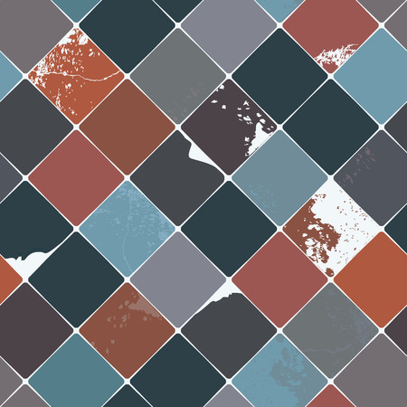 Seamless vector pattern with shabby chic, realistic, diamond shaped multicolored ceramic tiles with damages and grunge details, perfect for all web and print use