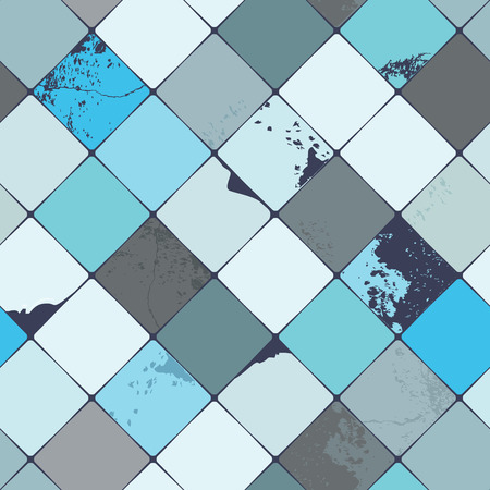 diamond shaped: Seamless vector pattern with shabby chic, realistic, diamond shaped multicolored ceramic tiles with damages and grunge details, perfect for all web and print use
