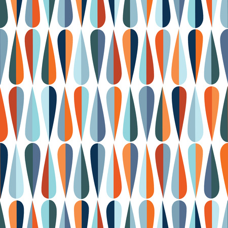 Mid-century modern style retro seamless pattern with drop shapes in various color tones, abstract repeating background for all web and print purposes.