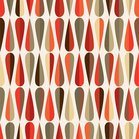 retro design: Mid-century modern style retro seamless pattern with drop shapes in various color tones, abstract repeating background for all web and print purposes.