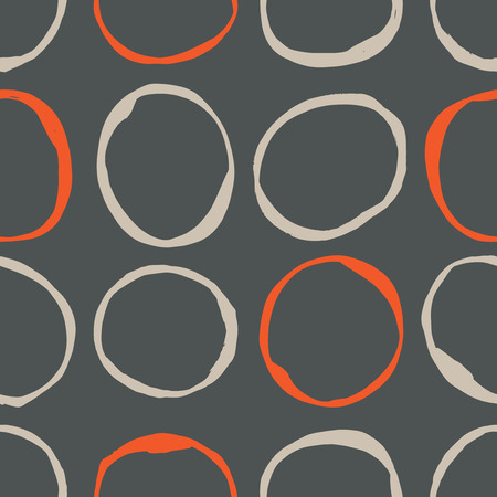 linen: Vector seamless pattern design with sketchy circles, trendy, simple and stylish repeating background for all web and print purposes. Illustration