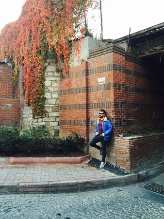 male fashion model: Handsome bearded man standing against the brick wall, winter-fall fashion shooting with a male model Stock Photo