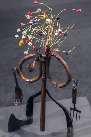art museum: Istanbul, Turkey - November 13, 2015: Piece of art at the 10th edition of the annual Contemporary Istanbul artshow held in Lutfi Kirdar Convention Center, Istanbul on November 13.