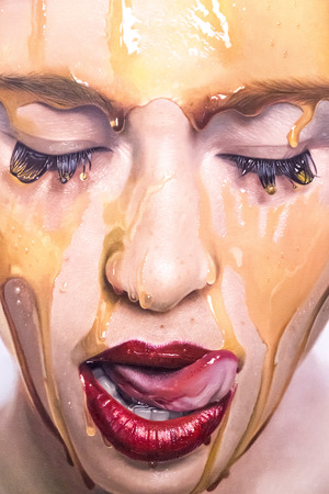 painting art: Istanbul, Turkey - November 13, 2015: Piece of art from various artists in 10th edition of the annual Contemporary Istanbul artshow held in Lutfi Kirdar Convention Center, Istanbul on November 13. Editorial