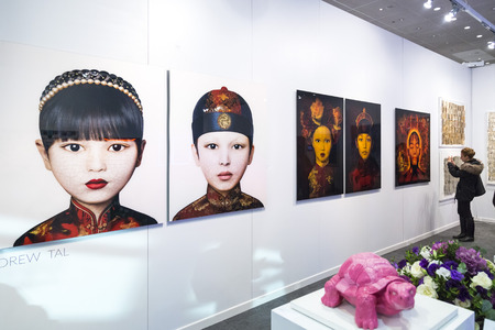 fareast: Istanbul, Turkey - November 13, 2015: Piece of art at the 10th edition of the annual Contemporary Istanbul artshow held in Lutfi Kirdar Convention Center, Istanbul on November 13.