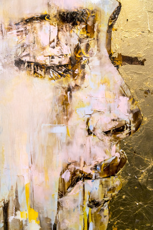 painting art: Istanbul, Turkey - November 13, 2015: Art pieces from various artists in 10th edition of the annual Contemporary Istanbul artshow held in Lutfi Kirdar Convention Center, Istanbul on November 13.