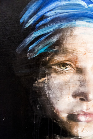 fine art portrait: Istanbul, Turkey - November 13, 2015: Piece of art from various artists in 10th edition of the annual Contemporary Istanbul artshow held in Lutfi Kirdar Convention Center, Istanbul on November 13. Editorial