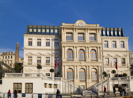 tunel: Istanbul, Turkey - November 12, 2015: Exterior view of the Municipal Building of Beyoglu located in Sishane Square, Istanbul on November 12, 2015