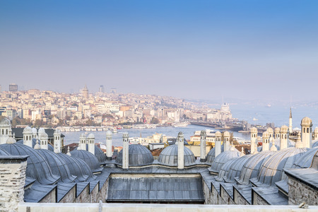 ancient near east: View from Suleymaniye Mosque built by the legendary Ottoman Sultan Suleiman the Magnificent overlooking the Golden Horn Editorial