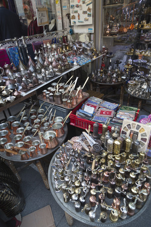 large group of items: The Copper shop with traditional Turkish handicrafts in the Grand Bazaar. Istanbul, Turkey