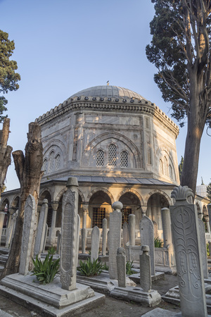 graves: The memorial tomb of the legendary Ottoman sultan Suleiman the Magnificent in Suleymaniye mosque. Editorial