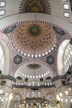 constantinople ancient: Interior view from Suleymaniye Mosque built by the legendary Ottoman Sultan Suleiman the Magnificent Editorial
