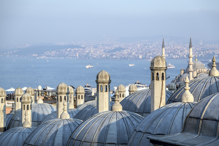constantinople: View from Suleymaniye Mosque built by the legendary Ottoman Sultan Suleiman the Magnificent overlooking the Golden Horn Editorial