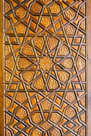 tallado en madera: Otomana - talla de madera turco, patrón geométrico fondo