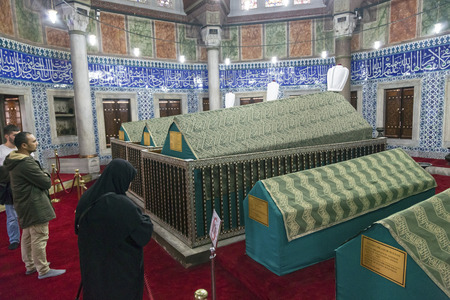 magnificent: Istanbul, Turkey - March 13, 2015: The memorial tomb of the legendary Ottoman sultan Suleiman the Magnificent in Suleymaniye mosque on March 13.