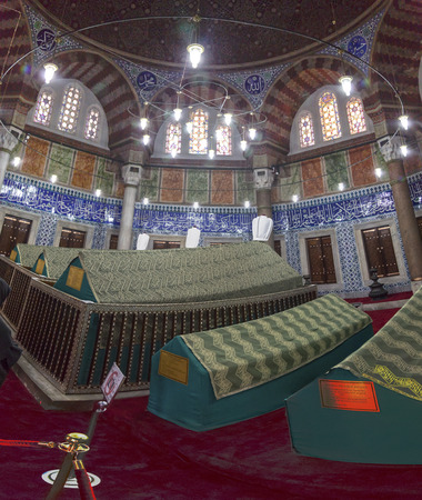 and the magnificent: The memorial tomb of the legendary Ottoman sultan Suleiman the Magnificent in Suleymaniye mosque. Editorial